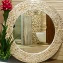 Espelho redondo dourado 80 CM